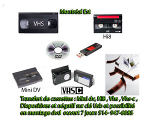TRANSFERT DE VHS, VHS-C, MINI-DV,HI8,DIAPOSITIVE,NÉGATIF EN USB