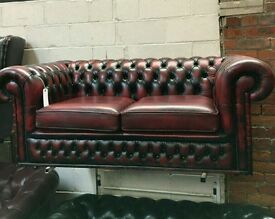 Oxblood leather Chesterfield 2 seater sofa. UK wide delivery available