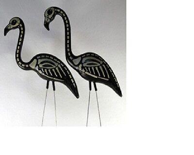 Pair Skeleton Flamingos Lawn Orn Halloween Goth Punk