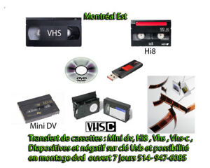 transfert de vhs , vhs-c, Mini-dv,Hi8,diapositive,négatif en usb