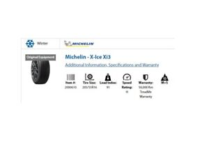 Winter Tires - Michelin X Ice - Set of 4 - 205/55R16