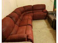 Red fabric corner sofa