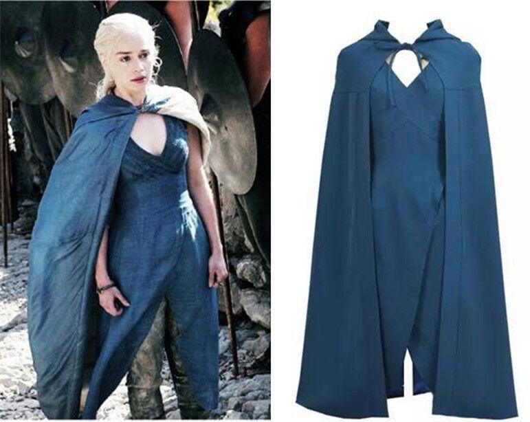 Game Of Thrones Halloween Daenerys Targaryen Fancy Dress Cloak Costume Cosplay