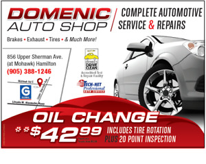 OIL CHANGES – Domenic Auto Shop 905-388-1246