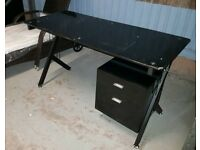 A brand new black glass mettle framed desk with 2 drawer chest