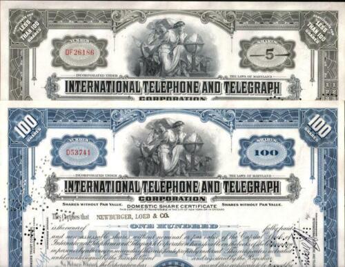 100 CRISP ITT (INTERNATIONAL TELEPHONE TELEGRAPH) STOCKS! OLDEST TYPE! CV $20 EA