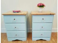 Stunning Pine duck egg paint bedside tables. Pair. 3 Drawers. Glass knobs.