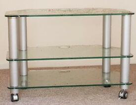glass tv stand used