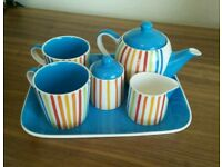 Whittards Striped Tea Set - Complete