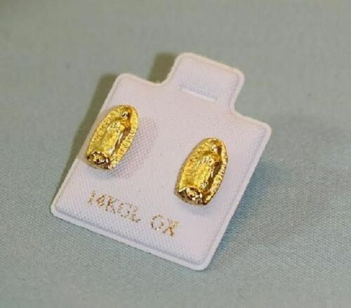 Our Lady of Guadalupe Womans or Childs Stud Earrings 14k GPE Hispanic Jewelry