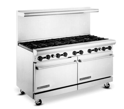 "American Range 60"" 10 Burner Natural Gas Commercial Range W/ Oven Ar-10"