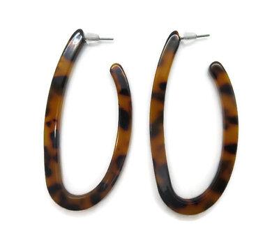 Women's Resin Acrylic Tortoise Shell Oval Hoop Drop Earrings (Tortoise Shell Modeschmuck)