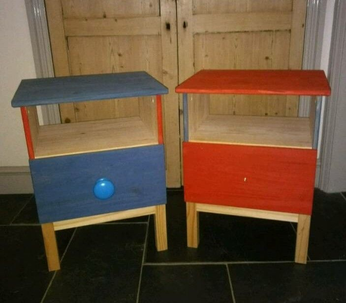 Kids Ikea Bedside Tables / Drawers Hand Painted