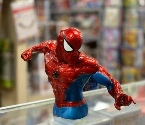 """Metallic Color Spider-Man  12""""x 7"""" x 4"""" Busted Bank Molded Coin Piggy Bank"""