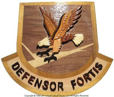AIR FORCE DEFENSOR FORTIS EMBLEM - USAF -  Handcrafted Wooden Military Plaques