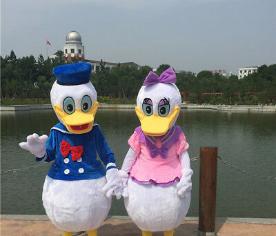 Lovely Donald Duck Couple Mascot Costume Fancy Party Dress Halloween Christmas