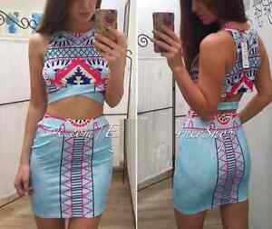 **BRAND NEW** Aztec Pattern 2 Piece Top & Skirt Club Wear