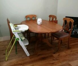 Solid pine oval table & 6 chairs