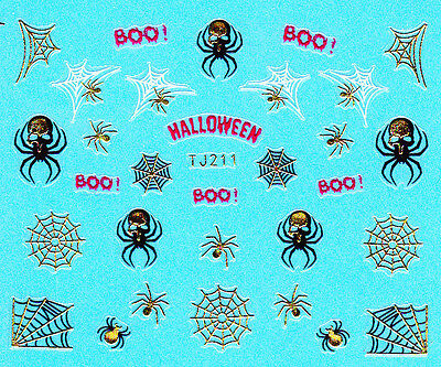 Nail Art 3D Decal Metallic Stickers Halloween Spider Web Boo Scary TJ211 - Halloween Nails Spider Web