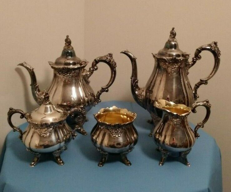 Wallace Baroque Silver Plate 5 Piece Tea and Coffee Set #281 - 285