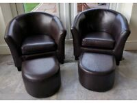 Brown leather kids tub chairs with foot stools