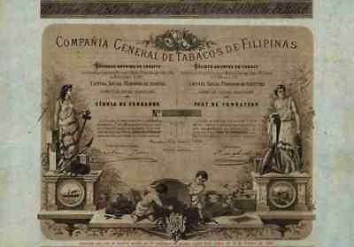 TABACOS DE FILIPINAS 1882 Barcelona Spanien Tabak Plantagen Gründeraktie A Lopez