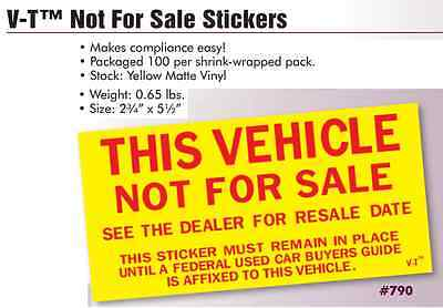 """Car Dealer """"This Vehicle Not For Sale"""" Stickers, Versa Tag, 2 pack (200ct)"""