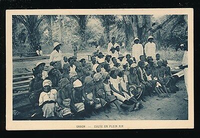 West Africa GABON Culte en plein open air worship c1910/20s? PPC