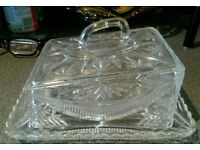 Vintage Victorian heavy pressed glass large cheese dish.