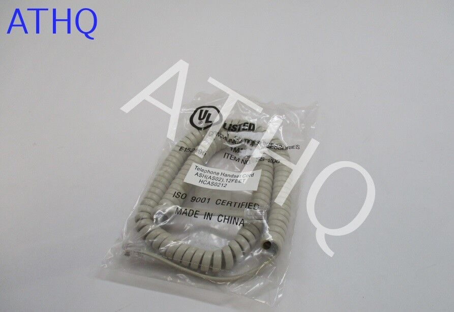 CURLY-CORD-A-12FT NEW Telephone Handset replacement Curly Cord 12 Foot ASH