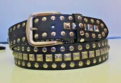 Black Studded Belt-Silver Stud & Buckle Stud Studded Black Belt