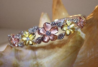 Hawaiian Rhodium 2-Tone 14k Gold Plated Over Brass Plumeria Maile CZ Bracelet #2 2 Tone 14k Gold Plated