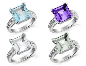 4-0-Carats-10mm-Princess-Cut-CHOICE-OF-GEMSTONE-Ring-in-Sterling-Silver