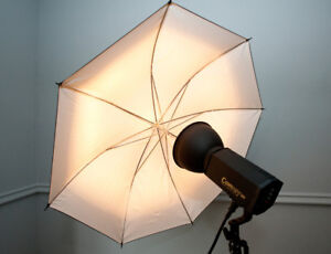 Aurora Camray 300 portable studio lighting set with carry cases.