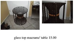 glass top macrame' table and old canes