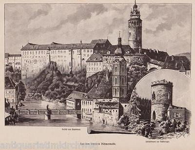 Krummau-Ansicht.Aus den deutschen Böhmerwald.  Holzstich erschienen 1896