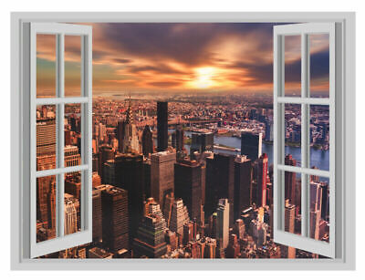 New York City Apple Window Poster 3D Art Wall Sticker Vinyl Decal Mural
