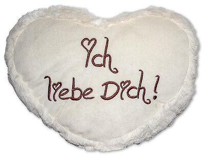 """1 x Herzkissen 40 cm Plüsch """"i love you"""" cremefarbig flauschig Herz Kissen Liebe"""
