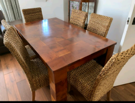Dining Table & 6 chairs , not MDF... good quality heavy table