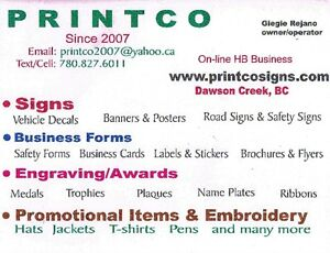 Signs - Custom Business Forms- Promo Items- Embroidery- Awards