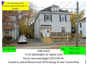 Duplex , Newly Renovated , central Moncton , Dufferin St