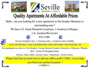 10 moncton location , bach-1 bed- 2 bed , variety of different