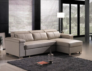 Genuine Top Grain leather sectional sofa and chaise with hide-a-