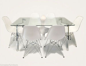 Eiffel 7pc Glass Dining Table Setting White or Black Chairs Sydney City Inner Sydney Preview