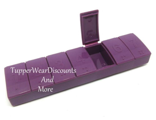 Tupperware Gadget 7 Day Pill Keeper Divided Container Organizer Raspberry Purple