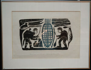 Inuit Original Print By Levi Qumaluk 1983 - 33/50 - Signed