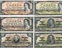 1937 & 1954 Lot of Canadian Banknotes