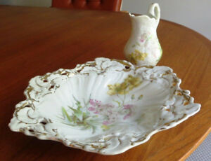 Antique German CT Plate and Creamer