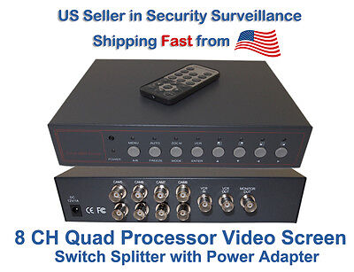 8 Channel 8 CH Quad Processor Video Screen Switch CCTV Splitter w/ Power Adapter