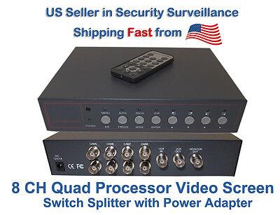 8 Channel 8 CH Analog Quad Processor Video Screen Switch CCTV Splitter w/Adapter
